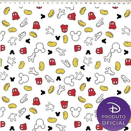 TECIDO 100% ALGODÃO FERNANDO MALUHY - MICKEY FUNDO BRANCO- PREÇO DE 0.50 x 1,50