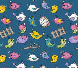 TECIDO 100% ALGODÃO FABRICART- FOFURICES-  MINI BIRDS AZUL- PREÇO DE 0.50 x 1,50
