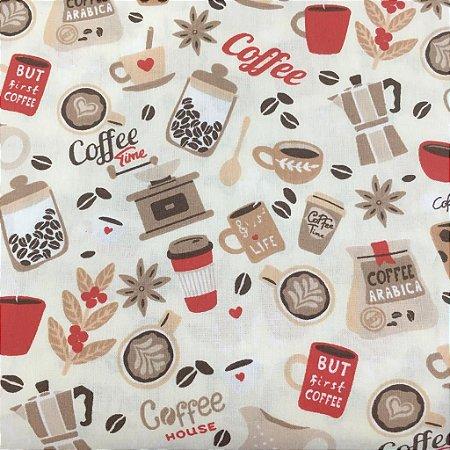 TECIDO 100% ALGODÃO - DOHLER - COFFE - PREÇO DE 0.50 x 1,50