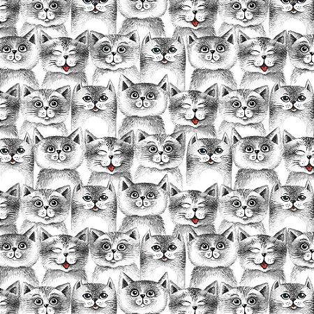 TECIDO 100% ALGODÃO FABRICART- CAT LOVERS - CAT 14 - PREÇO DE 0.50 x 1,50