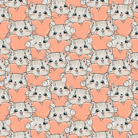 TECIDO 100% ALGODÃO FABRICART- CAT LOVERS - CAT 07 - PREÇO DE 0.50 x 1,50