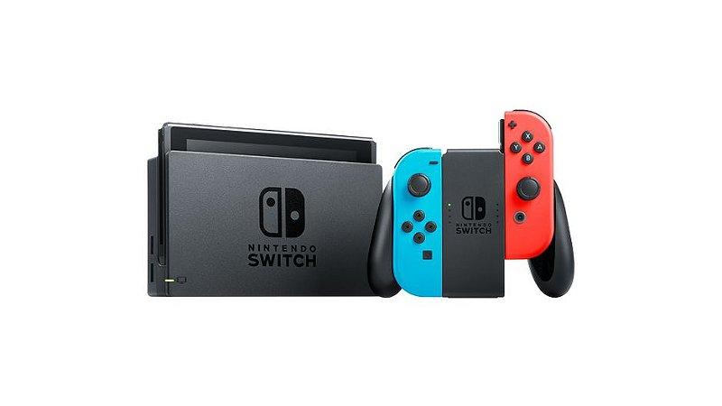 Console Nintendo Switch Com Joy-con Vermelho e Azul (Nacional) - Novo