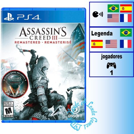 Assassin's Creed III Remasterizado - PS4 - Novo