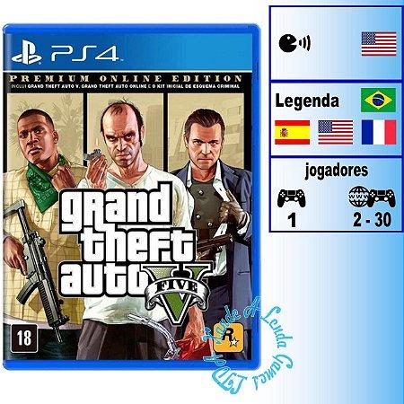 Grand Theft Auto 5 (GTA V) Premium Online Edition - PS4 - Novo