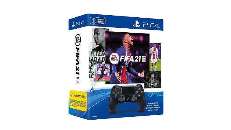 Conjunto Controle Dualshock 4 Preto (Blackjet) + FIFA 21 (Digital) + 14 dias de PSN Plus - PS4 - Novo