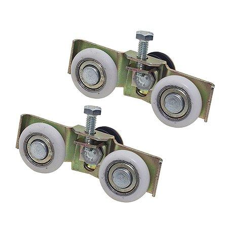 Roldana dupla com regulagem para portas de vidro temperado de 08 ou 10 mm / 02 peças