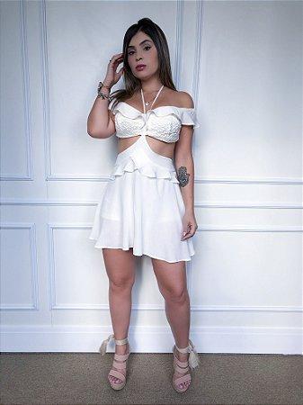 Vestido Ciganinha com Babado Branco com Shortinho