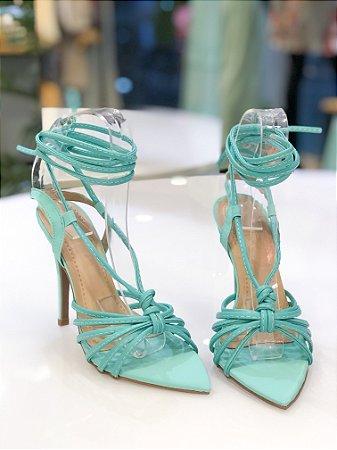 Sandália Salto Alto Azul Tiffany Bico Folha Luiza