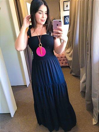 vestido longo lastex preto com alça laço