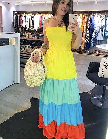 vestido color longo lastex