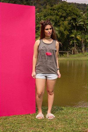 Camiseta Feminina Regata Flamingo Pompom