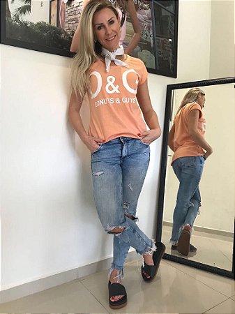 Camiseta feminina Stone Pessego Donuts & Guys