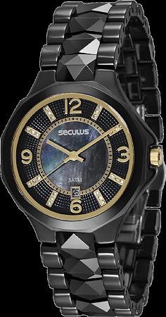 2cf676a0195e7 Relógio Seculus Feminino IP Black Analógico 20540L0SVNQ1 - Ótica Quartz