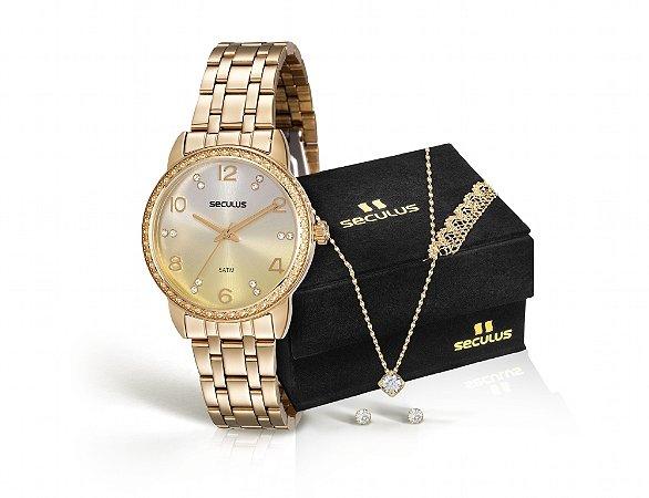 93e60463f59 Kit Relógio Seculus Feminino Analógico e Colar com Pingente e Brincos  Solitários 20436LPSKDS1K1