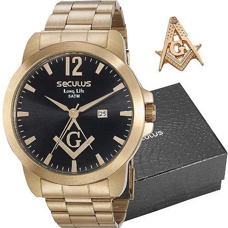 Kit Relógio Seculus Masculino Long Life Analógico Com Broche 28973GPSKDA1K1