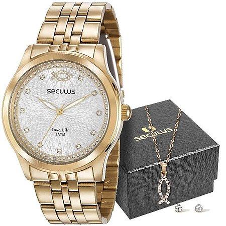Kit Relógio Seculus Feminino Long Life Analógico 28968LPSKDA1K1
