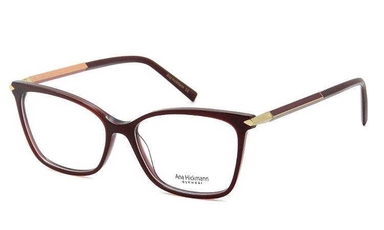1420f68cea683 Armação Óculos de Grau Ana Hickmann Feminino AH6344 T01 - Ótica Quartz