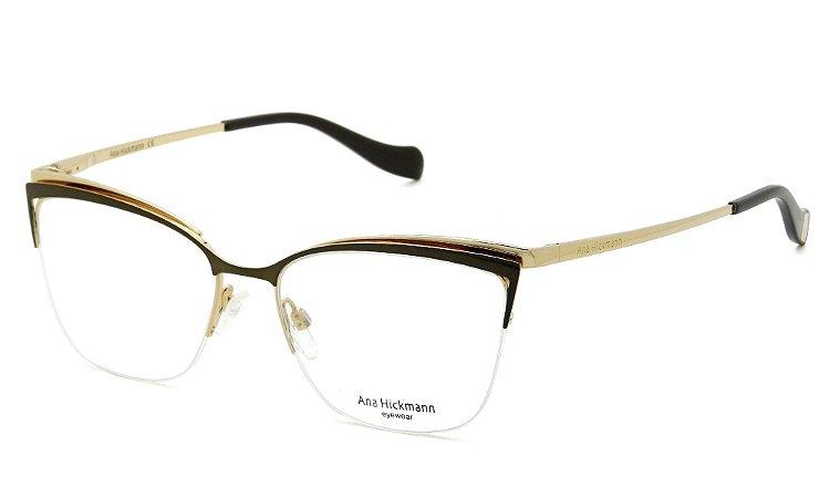 33c63b11381cc Armação Óculos de Grau Ana Hickmann Feminino AH1357 01A - Ótica Quartz