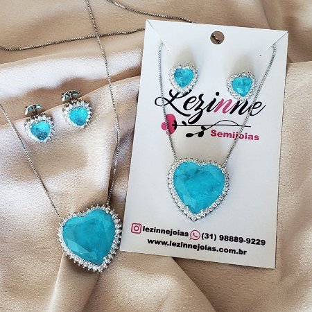 Colar e Brincos Coração Azul