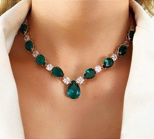 Colar Pedras Verde e Cristal