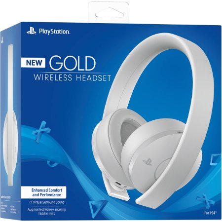 Headset Gold 7.1 Branco Wireless Stereo Sony Ps4/Ps3/Ps Vita