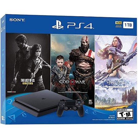 Playstation 4 Slim 1 TB Bundle 3 Jogos s/ plus