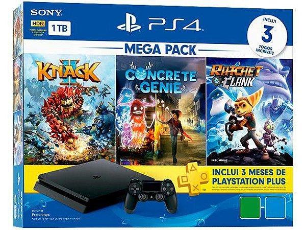 Playstation 4 SLIM 1TB  + 3 Jogos + PLUS 3 meses