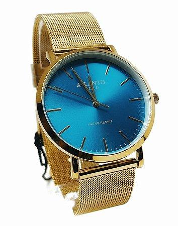 Relogio Feminino Atlantis G3519 Dourado Fundo Azul