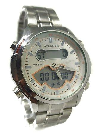 Relógio Atlantis G3448 Anadigi Prata Fundo Branco
