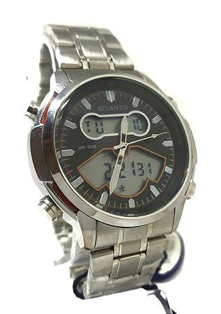 Relógio Atlantis G3448 Anadigi Prata Fundo Preto