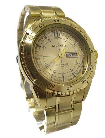 Relógio Atlantis G3392 Dourado Fundo Dourado