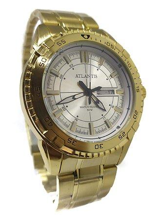 Relógio Atlantis G3392 Dourado Fundo Branco