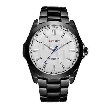 Atacado Relógio Masculino Curren Analógico 8109 - Preto e Branco