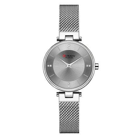 Atacado Relógio Feminino Curren Analógico C9031L - Prata e Cinza