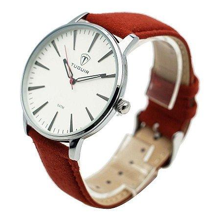 Relógio Masculino Tuguir Analógico 5273 vermelho e prata