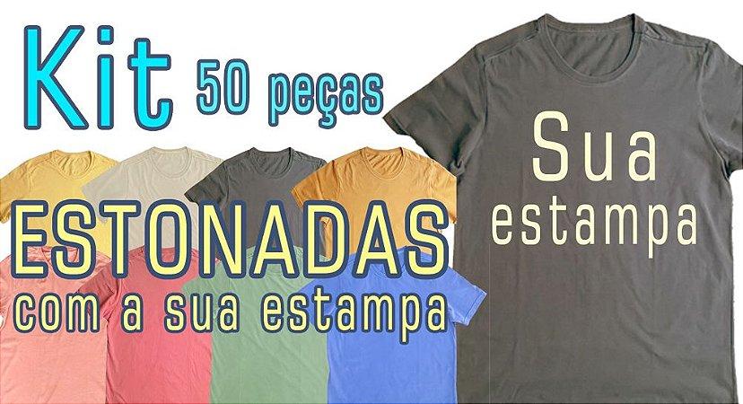 KIT 50 estonadas com a sua estampa na frente em 1 cor e etiqueta no verso estampada em 1 cor(usar o cupom de desconto para cada camiseta sair a 33,00 por deposito))