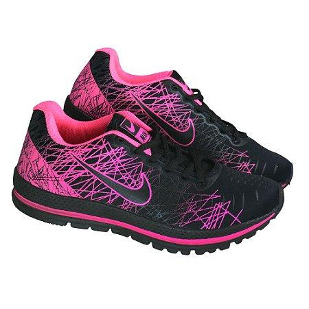 Tênis Esportivo Caminhada Feminino Nike Rajado - Preto/Rosa