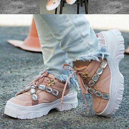 Tênis Feminino Plataforma Sneakers Blogueira Chunky Pedraria Kasual Couro Ecológico Lançamento 2020