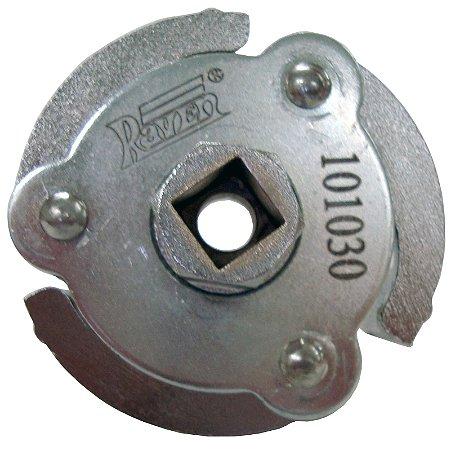"""Raven 101030 Saca filtro de óleo com abertura de 70 a 100mm.Possui três garras, encaixe quadrado de 1/2"""" e sextavado externo de 22mm."""