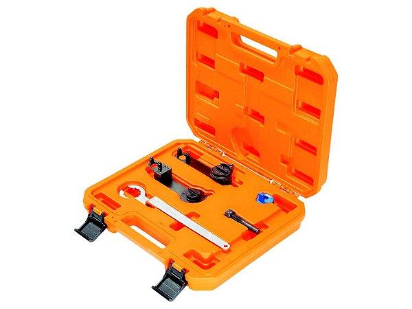 Raven 111501 Conjunto de ferramentas para sincronismo dos motores VW EA211 1.0 12V (3 cil.) MPI, 1.0 12V (3 cil.) TSI, 1.4 16V TSI e 1.6 16V MSI. Composto pelas ferramentas 111112, 111113, 111114, 111115 e 111116 em uma maleta plástica especial.