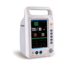 Monitor de Sinais Vitais Multiparamétrico ECG/respiração, SpO2, PNI e dois canais de Temperatura Touch Screen 7 Polegadas