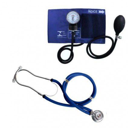 Kit Esfigmomanômetro e Estetoscópio Rappaport Azul ou Preto Premium