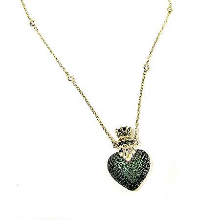 Colar coração Perfumeiro esmeralda corrente tiffany 70 cm banho ouro ... c69e407bd7