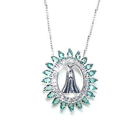 Colar Nossa Senhora Aparecida prata 925 cravejado esmeralda semi joia 72e3c81b88