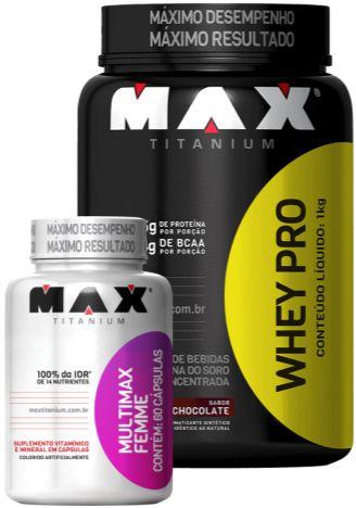 COMBO WHEY PRO (1000g) + MULTIVITAMÍNICO FEMME (60caps) MAX TITANIUM