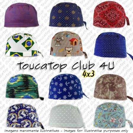 KIT Assinatura - Gorro Cirúrgico - Clube ToucaTop 4U - Surgical Scrub Caps  Club 4U Kit 460984f4558