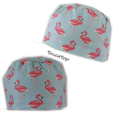 b2c7b0e186869 Gorro cirúrgico - Estampa Animal Print - Azul Claro com Flamingos Rosas -  Corpo maior