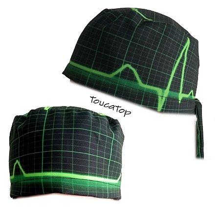 77ffe8b5d3da9 Gorro cirúrgico digital - Tema Eletrocardiograma ECG - Preto com Linhas  Verdes