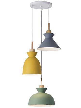 Pendente RPX Trend Trio Verde/Amarelo/Concreto