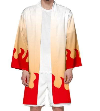 Kimono Kyojuro Rengoku Demon Slayer Kimetsu No Yaiba - Adulto